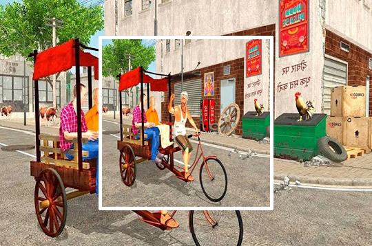 City Public Cycle Rickshaw Driving Simulator