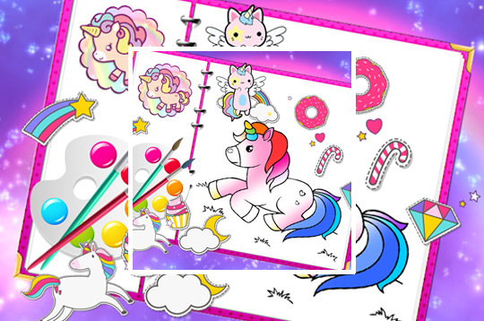 Fabuluous Cute Unicorn Coloring Book